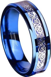 6MM Blue Tungsten Carbide Ring Celtic Dragon Blue Carbon Fibre Inlay Mens Wedding Band Size 6-13