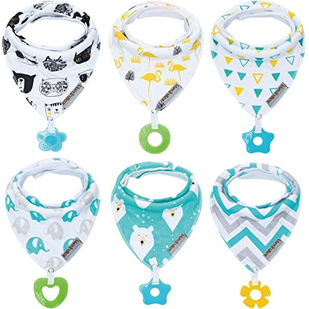 Baby Bandana Drool Bibs 6-Pack and Teething Toys 6-Pack Made with 100% Organic Cotton, Absorbent and Soft Unisex (Vuminbox) (6-Pack Unisex)