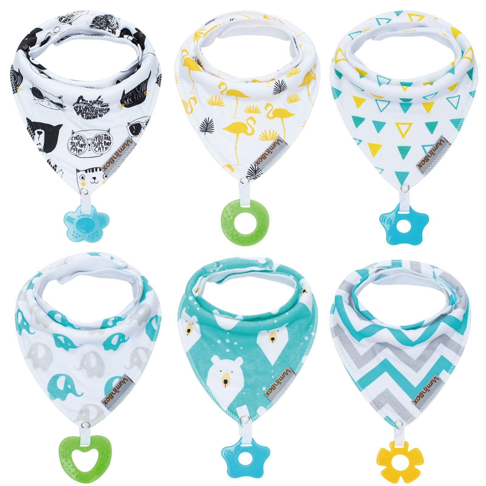Cotton With Dummy Clip 2 Silicone Baby Teething//Drooling//Weaning Bandana Bibs