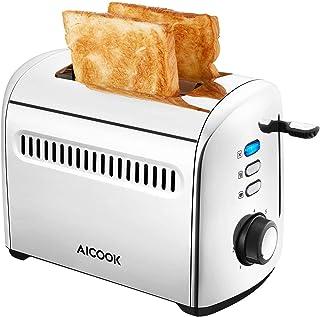AICOOK Grille Pain Inox 950W - 2 Large Fente Toaster Vintage 7 Niveaux de Brunissage Avec Fonctions de Décongelation, de C...