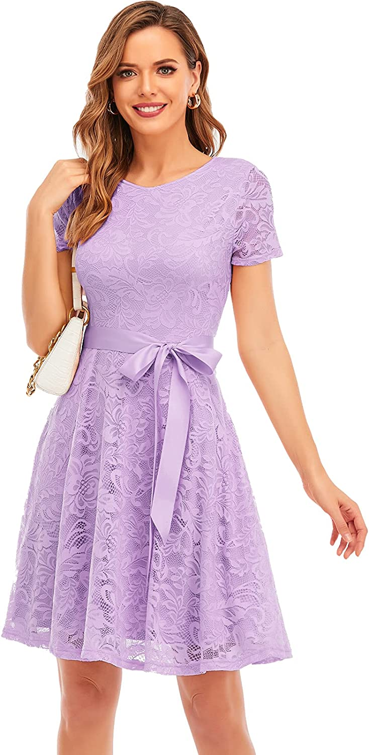 Bridesmay Women Lace Dress Prom Party Swing A-Line Bridesmaid Cocktail Dress