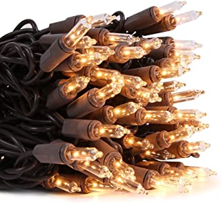LIDORE Super Bright Clear Mini Christmas Tree Lights. Gift for Decoration. End to End Connection. 100 Count Bulbs on Brown Wire