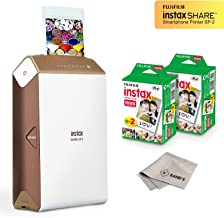 Fujifilm Instax Share Smartphone Printer SP2 (Gold) + Fuji Instax Mini Twin Pack Instant Film (40 Sheets) + Microfiber Cleaning Cloth - Super Value Instant Printer Bundle