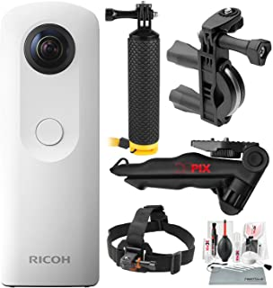 Ricoh Theta SC 360° Spherical Video/Still Camera (White) with Bike Handlebar Mount, Floating Hand Grip, Stable Tripod, Xpix Deluxe Camera Lens Cleaning Kit, and Deluxe Bundle