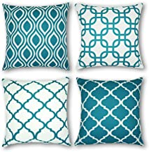 CARRIE HOME Geometric Throw Pillow Covers Outdoor Home Decor for Couch Sofa 18x18, Set of 4 18x18 Inches Green XP-GEOMETRIC-4PTEAL