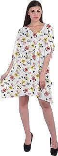 RADANYA Floral Women 3/4 Sleeve Bathing Suits Cover Up Cotton Kaftan Beach Dress Caftan