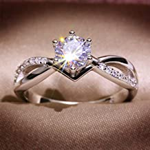TUU Silver Plated Diamond Ring, Diamond Cluster Ring, Dainty Stackable Diamonds Ring for Women/Girls