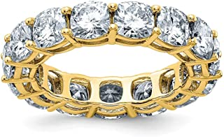 14K Yellow Gold Ring Band Moissanite Cushion White