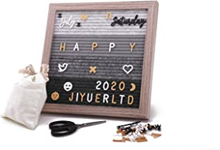 Felt Letter Board Message Board 10x10 Inches,Gray Changeable Message Board with Stand,Wall Hook,450 White Black Yellow Letters,Emojis,Dates,Arabic Numerals,Canvas Bag and Scissors. (Multicolor)