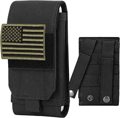 IronSeals Tactical Molle Phone Cover Case, Heavy Duty Loop Belt Holster Pouch with Flag Patch for iPhone 13 Pro Max/1...