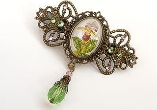 Fermaglio per capelli con motivo orchidea color bronzo verde