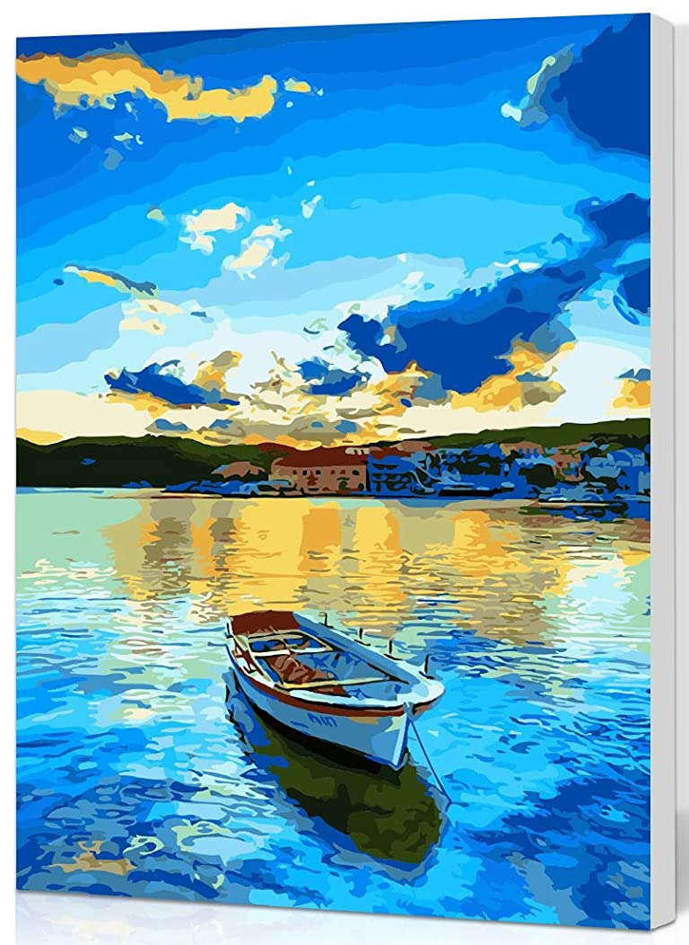 SHUAXIN Paint by Numbers for Adult,DIY Paint by Number Kits for Kids Beginner on Canvas Painting,Blue Lake Boat 16x20 inch Wooden Framed
