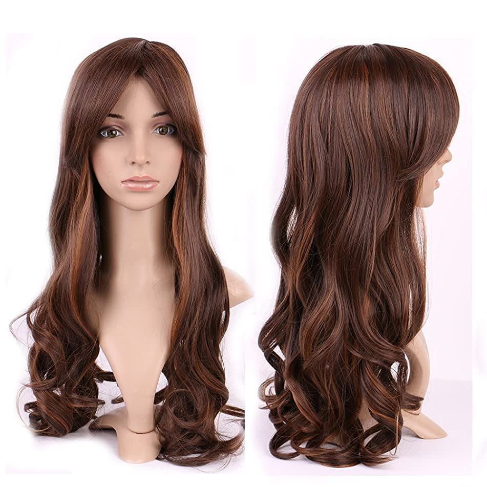 Long Curly Synthetic Wig 2 Tone Japanese Kanekalon Fiber 20 Styles Heat Resistant Full Wig with Bangs Full Head for Women Girls Lady,20.5'' / 20.5 inch,Ombre brown coffee