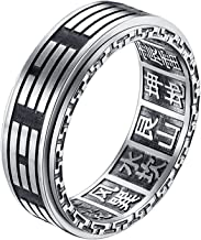 ALEXTINA Men`s 8MM Stainless Steel Yin Yang Spinner Ring Ba Gua Feng Shui Eight Trigrams Signet Band