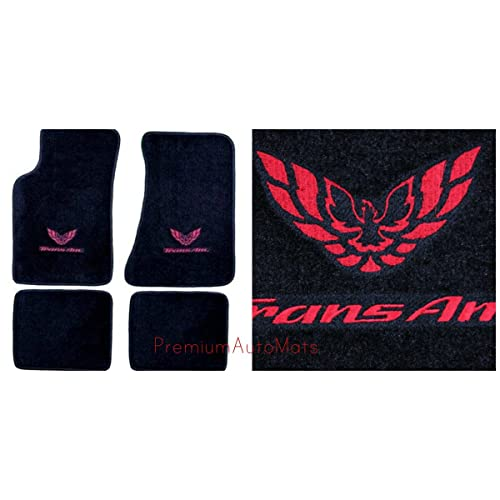Pontiac Firebird Trans AM 4 Piece Custom Fit Black Carpet Floor Mat Set with GM Licensed