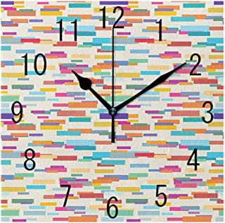 GULTMEE Square Wall Clock Home Decorative, Colorful Pattern with a Group of Overlapping Horizontal Long Rectangle Shapes, 7.8