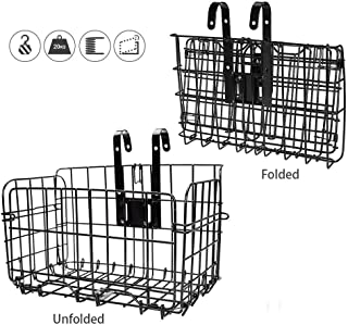 HOMEE Folding Rear Bike Basket Wire Mesh Fold-Up Detchable Front Bag Rear Hanging Bike Basket Bicycle Bag Cargo Rack for Mountain Bike Accessories Bike Frame Basket 1 Pack
