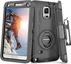 Note 4 Case, Galaxy Note 4 Case, BENTOBEN Shockproof Heavy Duty Protection Hybrid Rugged Samsung Galaxy Note 4 Case Rubber Built-in Rotating Kickstand Belt Swivel Clip Holster Note 4 Case, Black