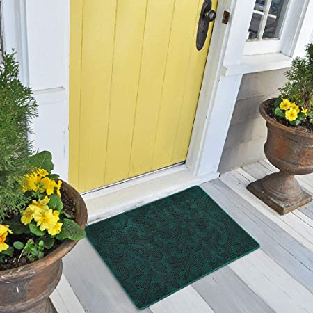 """Outdoor Indoor Door Mat, Welcome Mats For Front Door, Non Slip, Waterproof, Washable, Resist Dirt , Absorb Moisture Door Mats for Home Entrance, Garage,Patio,Flat,Kitchen(17"""" x 30"""", Green)"""