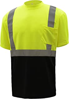 CJ Safety CJHVTS2003 ANSI Class 2 High Vis Short Sleeve Black Bottom Safety Shirt Moisture Wicking Mesh (Extra Large, Green)