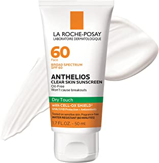 La Roche-Posay Anthelios Clear Skin Dry Touch Sunscreen Broad Spectrum SPF 60, Oil Free Face Sunscreen, Non-Greasy, Oxyben...