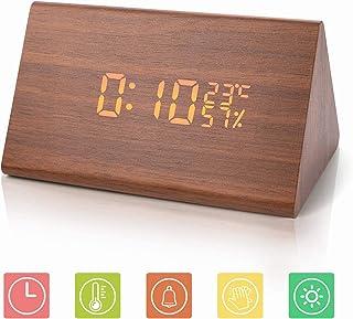 JoyShop Reloj Despertador Reloj Digital de Madera Triángulo LED Reloj de Escritorio de Alarma de Madera con Fecha y Temperatura Control táctil por Voz para niños Hogar Dormitorios Oficina