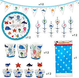 71 Piece Sea Life Marine Animal Party Supplies, Kids Birthday Party Decoration Tableware Pack, Including Banner, Plate, Cup, Straw, Cupcake Wrapper, Cupcake Topper, Table cover, Serves 12 Guest