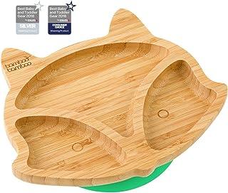 comprar comparacion Plato de succión para bebés y niños con forma de zorro, plato de bambú natural verde verde