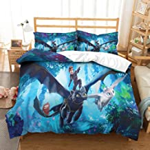 NOOS 3D How to Train Your Dragon Duvet Cover Set Full Size, Soft 100% Microfiber Bedding Set for Boys, Kids, Teens Bedroom Decoration 3 Pieces Bed Set(1 Duvet Cover 2 Pillowcase)