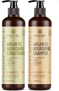 Juego de champú y acondicionador de aceite de argán (2 x 169 oz) - MagiForet champú orgánico y acondicionador sin sulfato