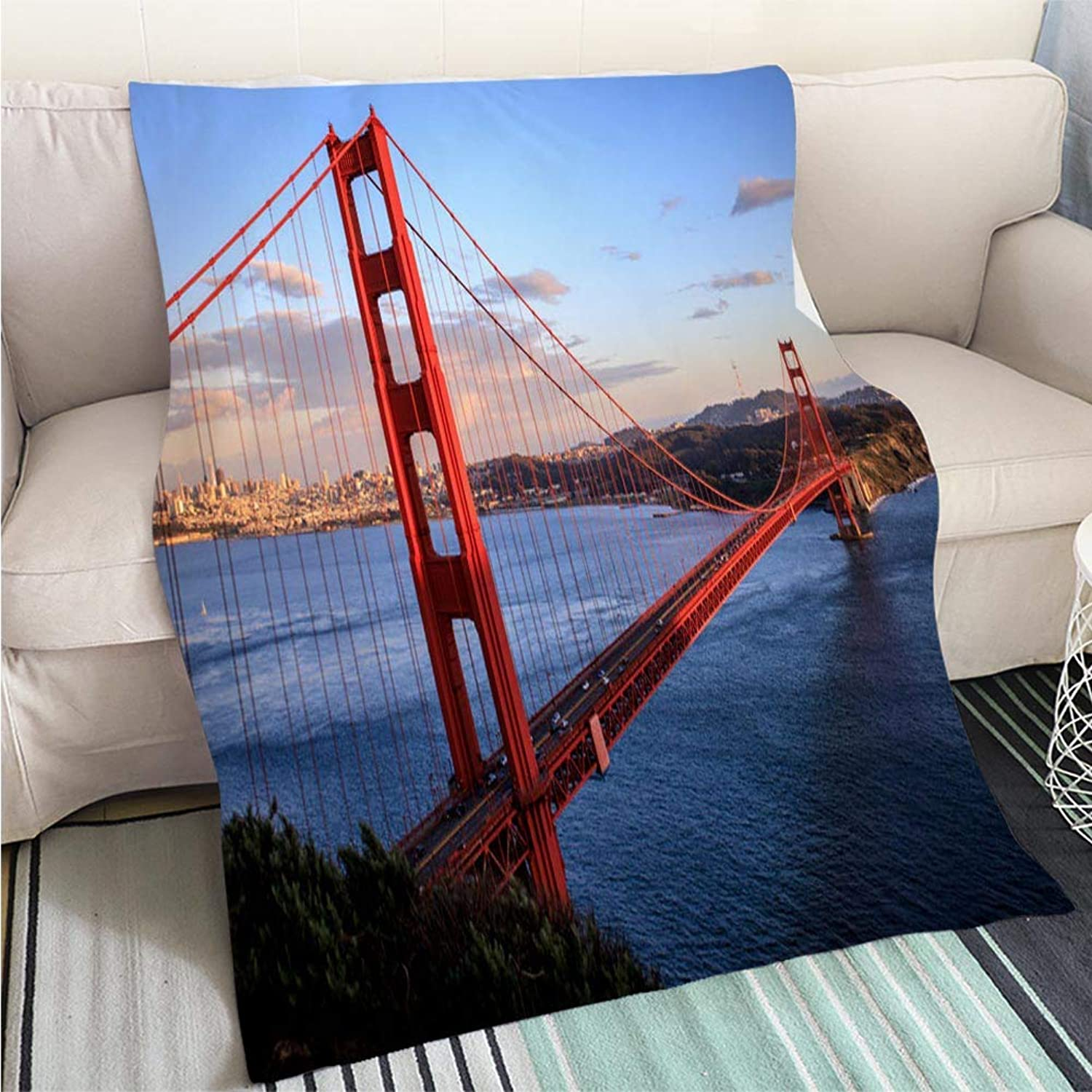 BEICICI Comforter Multicolor Bed or Couch golden Gate Bridge Art Blanket as Bedspread gold White Bed or Couch