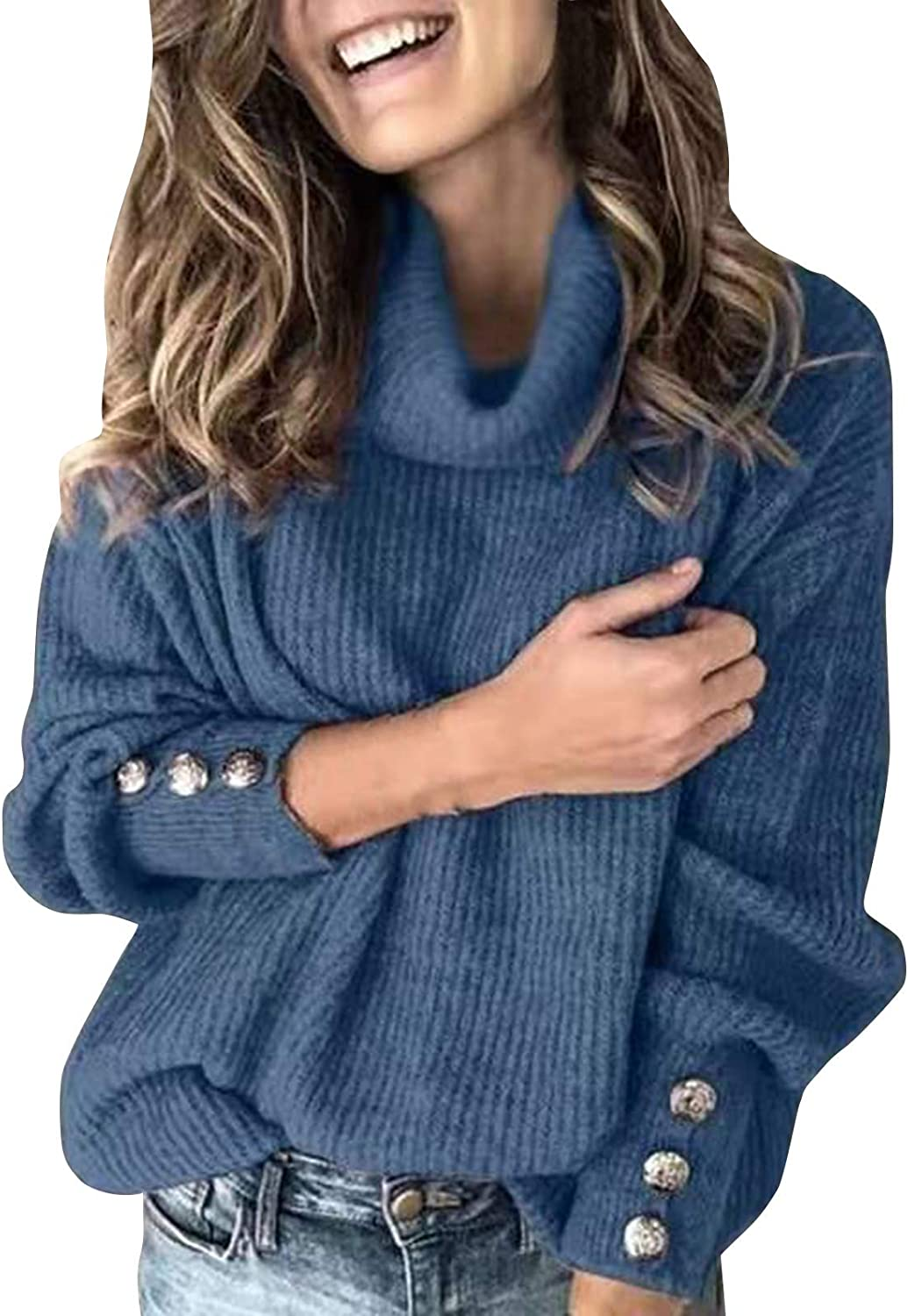 Women's Turtle Cowl Neck Lantern Sleeve Loose Oversized Knitted Pullover Casual Sweaters Blouses Tops
