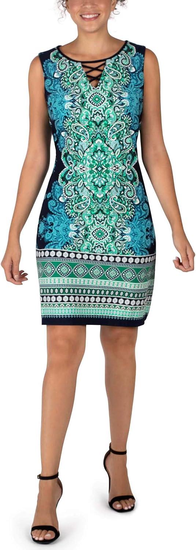 Sandra Darren Sleeveless Teal Printed Dress, Multiple Sizes – Teal Print Color