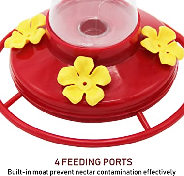 Twinkle Star Outdoor Hummingbird Feeder with 4 Feeding Ports, 20 Ounce