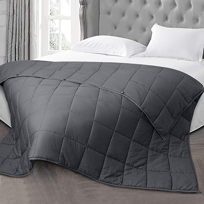 Dreamcountry Weighted Blanket 12 LBS 60X80 Queen King Size Soft Comfortable Breathable 100 Cotton Washable Weighted Blanket Glass Beads For 100 140 LB Person Kids Adult Man Woman Grey