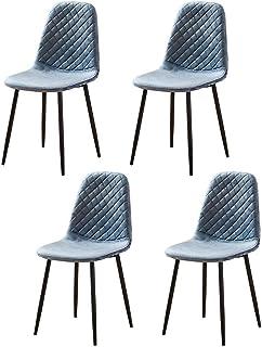 BJYG Muebles de Cocina Azul Sillas de Comedor Juego de 4 sillas de recepción en casa de Oficina de Terciopelo con mechones tapizados para sillas de Restaurante Asiento Acolchado con Patas de Meta