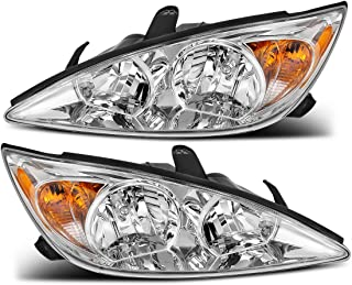 For Toyota Camry 2002-2004 Headlight Assembly Chrome Housing Amber Reflector Clear Lens (Driver and Passenger Side)