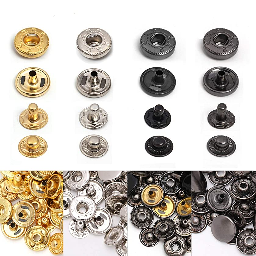 Metal Snap Buttons, Luxiv Metal Press Studs 120 Sets 4 Colors Jacket Snaps Fasteners No Sew Craft Metal Snaps Clothing Buttons for Leather, Cloth, Jeans, Bags(Metal 12mm Snaps)