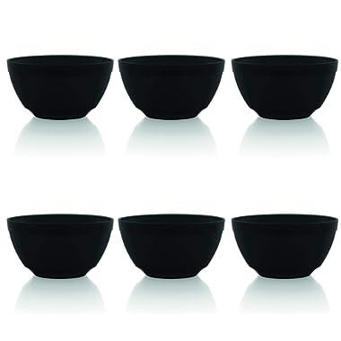 Ou Premium Design- Unbreakable Luna Bowls, Set of 6 (17 oz, Black)