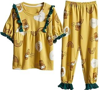 ZJMIYJ Pijamas De Mujer,Algodón Amarillo Pijamas Sets para Las Mujeres Elegante Dibujos Animados Pijamas Mangas Largas Largas Pans Señoras Pijamas Lindos Ropa De Hogar, XL