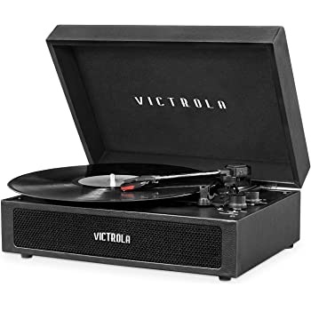 Victrola Parker Bluetooth Suitcase Record Player with 3-Speed Turntable, Black