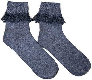 adam & eesa, 3 pares - Calcetines tobilleros de encaje con volantes para niñas - Calcetines con volantes de fiesta - Talla UK