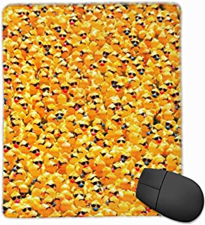 Mouse Pad, Yellow Rubber Ducky with Sunglasses Design Computer Mouse Mat with Non-Slip Rubber Base, Waterproof Mouse Pad with Stitched Edges, Mouse Pads for Computers, Laptop, Office & Home