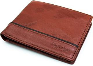 Fashionable tow layers brown wallet for men from ruffryder made of 100% genuine leather money card organizer 0198W