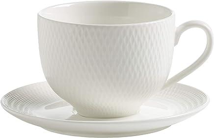 Preisvergleich für Maxwell & Williams Diamonds round Tasse mit Untertasse, Porzellan,weiß