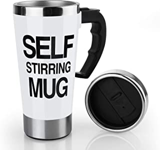 17oz Coffee Milk Automatic Mixing Cup Self Stirring Mug Stainless Steel Thermal Cup Electric Lazy Smart Double Insulated Cup (white)