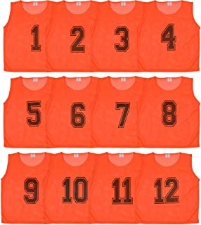 DURAMESH Set of 12 - Scrimmage Vest/Pinnies/Team Practice Jerseys with Free Carry Bag. Sizes for Children Youth Adult and Adult XL