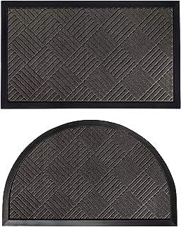 Gorilla Grip Natural Rubber Doormats, 72x24 Runner and 35x23 Half Circle Heavy Duty Indoor Outdoor Low-Profile Mats in Gra...