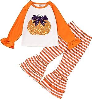 Toddler Halloween Outfits Baby Girl Pumpkin Clothes Ruffle Shirt + Stripe Bell Bottoms Long Pants Fall Pants Set