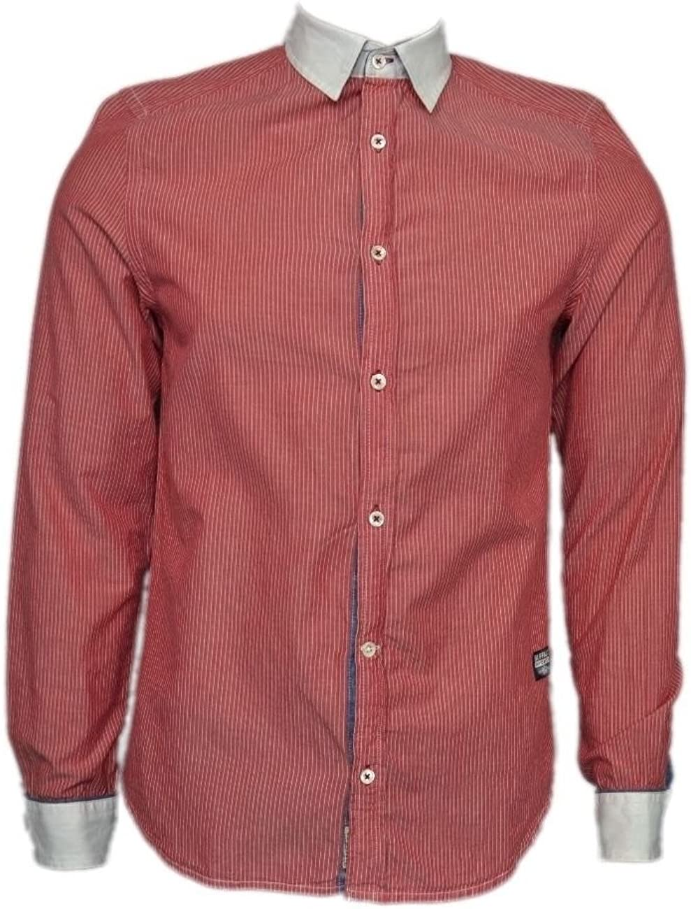 Buffalo David Bitton Men's Red/White Simov Striped Long Sleeve Button Down Shirt Size Small